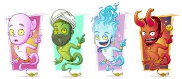 Cartoon magic jinns with lamp character vector set royalty free illustration