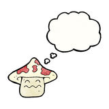 cartoon magic mushroom character with thought bubble Royalty Free Stock Photos