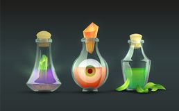 Vector Magic Potions. Cartoon magic potions collection. Vector alchemy bottles with witchery ingredients. Wizardry elixir liquids with strange contents vector illustration