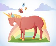 Cartoon magic unicorn Royalty Free Stock Image