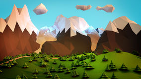Cartoon Magical Mountains. Stylized natural environment with low poly style rendering. A road to the magical mountains among trees under a soft dreamy sky Royalty Free Stock Photo
