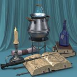 Cartoon magical still life with pictures of books, candles and magic potions. vector illustration