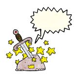 Cartoon magical sword in stone with speech bubble Royalty Free Stock Photography