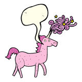 Cartoon magical unicorn with speech bubble Royalty Free Stock Images