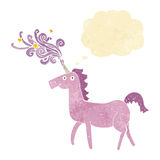 cartoon magical unicorn with thought bubble Royalty Free Stock Photos