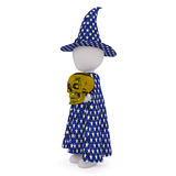 Cartoon Magician in Cape and Hat with Gold Skull Stock Photography