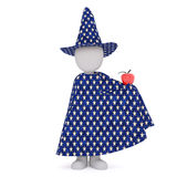 Cartoon Magician in Cape and Hat with Red Apple. 3d Rendering of Cartoon Character Wearing Star Patterned Cape and Wizard Hat and Holding Shiny Red Apple in Stock Image