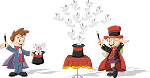 Cartoon magician kids. Holding magic wands performing tricks with animals Royalty Free Stock Images