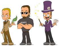 Cartoon magician and security characters set Royalty Free Stock Images
