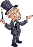 Cartoon magician with a wand. Isolated Stock Image
