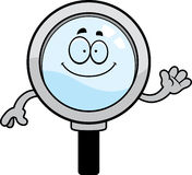 Cartoon Magnifying Glass Waving Stock Image