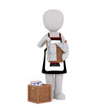 Cartoon Maid in Apron Holding Basket of Laundry. 3d Rendering of Cartoon Figure Wearing Apron and Holding Basket of Laundry in front of White Background with vector illustration