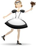 Cartoon Maid Holding Duster Vector Illustration. Smiling maid stands holding feather duster Royalty Free Stock Photography