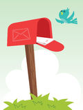 Cartoon mailbox and bird. Cartoon mailbox with letter and bird royalty free illustration