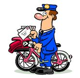 Cartoon mailman on bike Royalty Free Stock Image