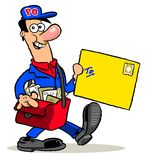 Cartoon mailman delivering letter Stock Photo