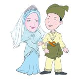Cartoon of Malay couple in wedding-Vector Illustration. Cartoon of Malay couple wedding in wearing traditional costumes, for Asian Traditional Cultural - Hand royalty free illustration