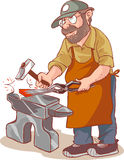 Cartoon male blacksmith. Forges a sword in the smithy vector illustration