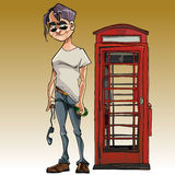 Cartoon male brawler with a bottle next to the phone booth Stock Photo