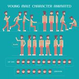 Cartoon male character animation vector set Royalty Free Stock Image