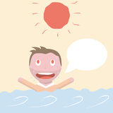 Cartoon male character has heat stroke in water. Stock Images