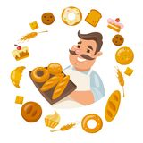 Cartoon male smiling character holding bred with differends bread icons around. Cartoon male character holding bred. Smiling man. Different kinds of bread stock illustration
