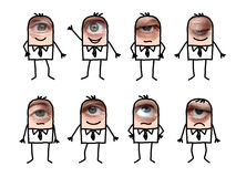 Cartoon male characters with real eye royalty free stock photos