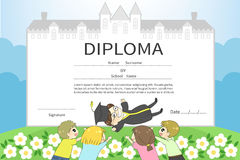 Cartoon male college student with friends celebration diploma ce Royalty Free Stock Photos
