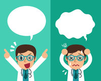 Cartoon male doctor expressing different emotions with speech bubbles. For design Stock Image