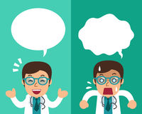 Cartoon male doctor expressing different emotions with speech bubbles. For design Stock Photos