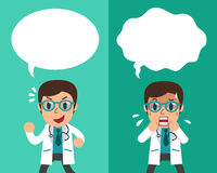 Cartoon male doctor expressing different emotions with speech bubbles. For design Stock Images