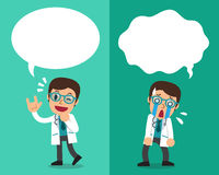 Cartoon male doctor expressing different emotions with speech bubbles. For design Royalty Free Stock Photo