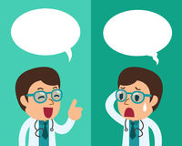Cartoon a male doctor expressing different emotions with speech bubbles. For design Royalty Free Stock Photo