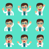 Cartoon male doctor faces showing different emotions. For design Royalty Free Stock Photography