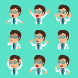 Cartoon male doctor faces showing different emotions set. For design Royalty Free Stock Photography