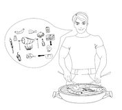 Cartoon Male dressed in grilling attire cooking meat. Royalty Free Stock Photo
