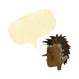 Cartoon male face with speech bubble Royalty Free Stock Image