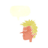 Cartoon male face with speech bubble Stock Photos