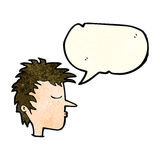 Cartoon male face with speech bubble Stock Image