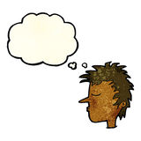 Cartoon male face with thought bubble Royalty Free Stock Image