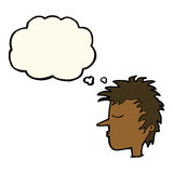 Cartoon male face with thought bubble Royalty Free Stock Photos