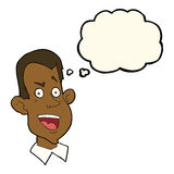 Cartoon male face with thought bubble Stock Photo