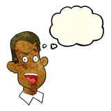 Cartoon male face with thought bubble Stock Photos
