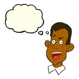 Cartoon male face with thought bubble Stock Image