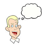 Cartoon male face with thought bubble Royalty Free Stock Images