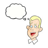 Cartoon male face with thought bubble Royalty Free Stock Photo