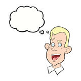 Cartoon male face with thought bubble Stock Images