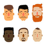 Cartoon Male Faces. Different ethnicity. Vector Stock Photo