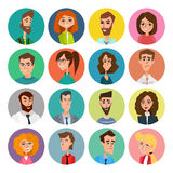 Cartoon male and female faces collection. Vector collection icon set of colorful people modern flat design. Avatars characters of Royalty Free Stock Photography