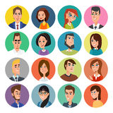 Cartoon male and female faces collection. Vector collection icon set of colorful people modern flat design. Avatars characters of Royalty Free Stock Images